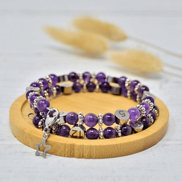 Bracelet d'allaitement Améthyste violette - Irréversible